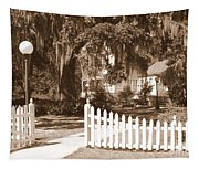 Mossy Live Oak And Picket Fence Tapestry