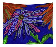 Most Unusual Poinsettia In A Midnight Blue Sky Tapestry