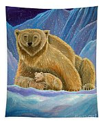 Mother And Baby Polar Bears Tapestry