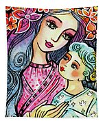 Mother And Child In Blue Tapestry