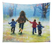 Mother And Three Sons  Tapestry
