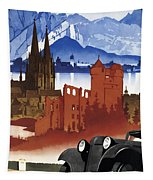 Motoring In Germany - Retro Travel Poster - Vintage Poster Tapestry