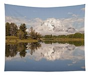 Mount Moran On Oxbow Bend Panorama Tapestry