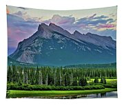Mount Norquay At Dusk Tapestry