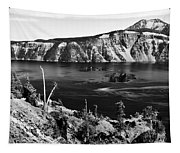 Mount Scott Behind Crater Lake B W Tapestry