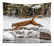 Mountain Lion Leap Tapestry