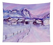 Mountain Village In Snow Tapestry