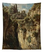 Mountainous Landscape With Waterfall Tapestry