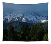 Mt Shasta Under Clouds - Panorama Tapestry