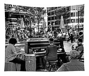 Music On The Boston Common Boston Ma Black And White Tapestry