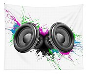 Music Speakers Colorful Design Tapestry