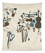 Musical Instruments Map Of The World Map Tapestry by Michael Tompsett