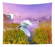 Mute Swans Over Marshes Tapestry