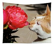 My Kitty In Love With A Peony Tapestry