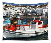 Mykonos Greece Fishing Boats Tapestry