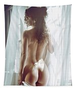 Naked Back Of A Beautiful Half Nude Woman Standing By The Window Tapestry
