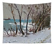 Naked Trees By The Lake Shore Tapestry