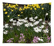 Narcissus And Daffodils In A Spring Flowerbed Tapestry