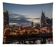 Nashville Broadway Street Shelby Street Bridge Downtown Cityscape Art Tapestry