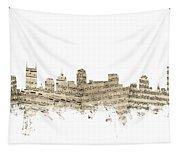Nashville Tennessee Skyline Sheet Music Tapestry