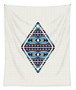Navajo Blue Pattern Art Tapestry
