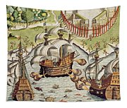 Naval Battle Between The Portuguese And French In The Seas Off The Potiguaran Territories Tapestry