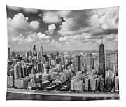 Near North Side And Gold Coast Black And White Tapestry