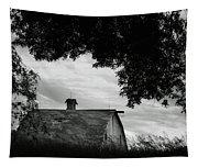 Nebraska - Barn - Black And White Tapestry