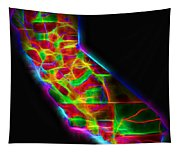 Neon California State Map Tapestry