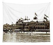 Neptune Casino And Onion-domed Bandstand, Santa Cruz Beach Circa 1904 Tapestry