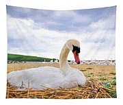 Nesting Mute Swan At Abbotsbury - Impressions Tapestry