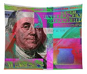 New 2009 Series Pop Art Colorized Us One Hundred Dollar Bill  No. 3 Tapestry