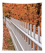 New England White Picket Fence With Fall Foliage Tapestry