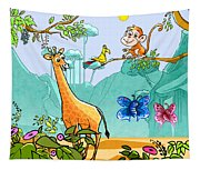 New Friends In The Jungle Tapestry