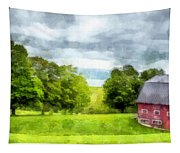 New Hampshire Landscape Red Barn Etna Tapestry
