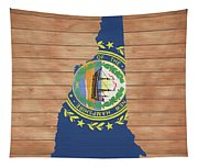 New Hampshire Rustic Map On Wood Tapestry