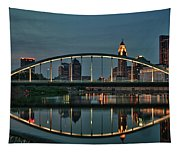 New Main Street Bridge At Dusk - Columbus, Ohio Tapestry