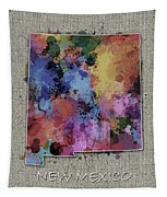 New Mexico Map Color Splatter 5 Tapestry