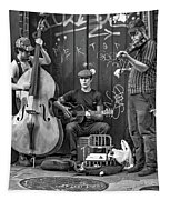 New Orleans Street Musicians Bw Tapestry