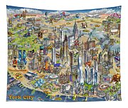 New York City Illustrated Map Tapestry