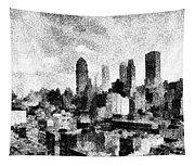 New York City Skyline Sketch Tapestry