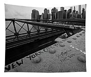 New York City You're Beautiful Brooklyn Bridge Ny Black And White Tapestry
