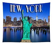 New York Classic Skyline With Statue Of Liberty Tapestry