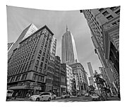 New York Fifth Avenue Taxis Empire State Building Black And White Tapestry