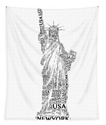 New York Lady Liberty Words Tapestry