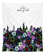 New York Skyline Floral 3 Tapestry