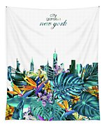 New York Skyline Floral  6 Tapestry