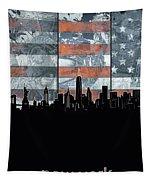 New York Skyline Usa Flag 5 Tapestry
