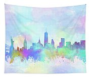 New York Skyline Watercolor 7 Tapestry