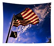 Newport Beach Sunset On Old Glory Tapestry